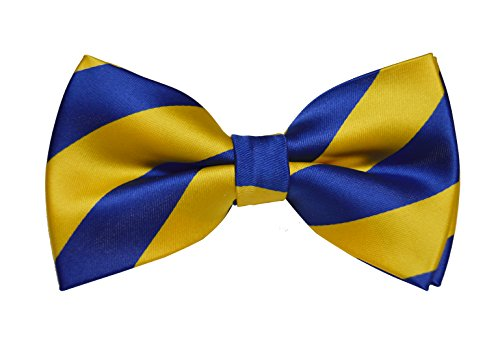 Vincent Apparel Collegiate Stripe Pre-Tied Bow Ties (Multiple Colors) (Royal Blue and Yellow)