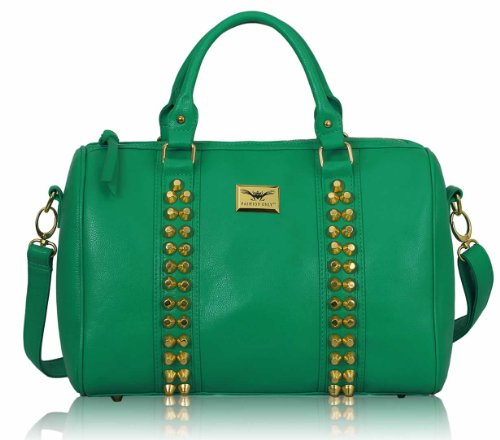Ladies Handbag In Sale Women Bags Nude On Sale Faux Leather High Quality Studded With Shoulder Strap Design 1 - Emerald