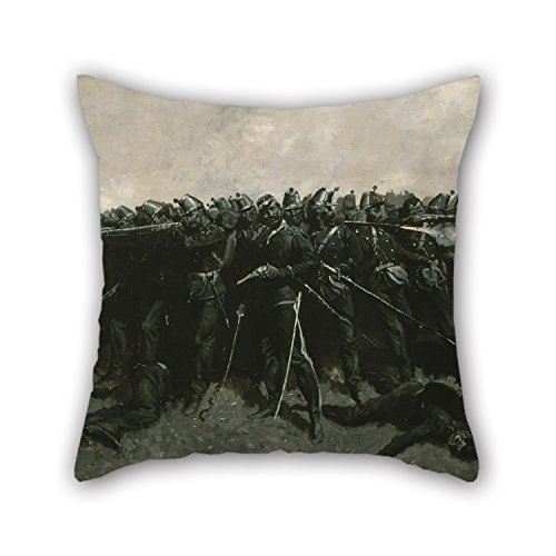 (Artistdecor 20 X 20 Inches / 50 By 50 Cm Oil Painting Frederic Remington - The Infantry Square Throw Pillow Case ,twice Sides Ornament And Gift To Bar Seat,gril Friend,boy Friend,floor,wife,gf)