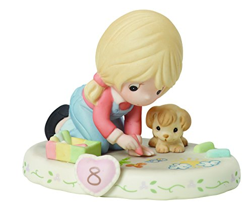 Precious Moments,  Growing In Grace, Age 8, Bisque Porcelain Figurine, Blonde Girl, 154035
