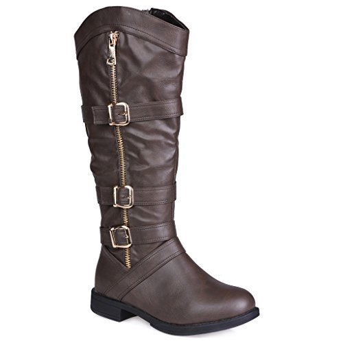 Twisted Women's AMIRA Wide Width/Wide Calf Faux Leather Knee-High Western Flat Riding Boot with Multi Buckle Straps - BROWN, Size 12