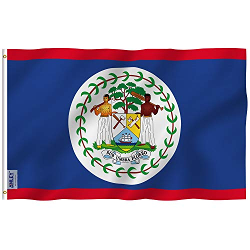 Anley Fly Breeze 3x5 Foot Belize Flag - Vivid Color and UV Fade Resistant - Canvas Header and Double Stitched - Belizean National Flags Polyester with Brass Grommets 3 X 5 Ft