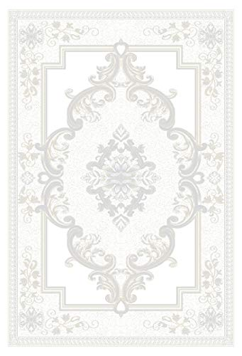 Pearl Carved Rug - Rug Legend Glamour 3D Hand Carved Traditional Rug Oriental Floral Very Thick! - 5'2'' X 7'5'', Pearl