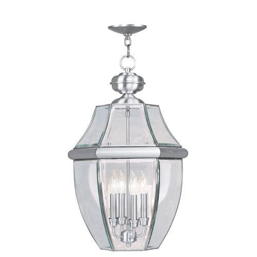Livex Lighting 2357-91 Monterey 4-Light Outdoor Hanging Lantern, Brushed (Monterey Hanging Lantern)
