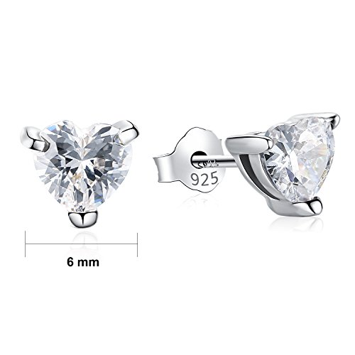 Gagafeel S925 Sterling Silver Women Girl Love CZ Heart Crystal Stud Earrings with Gift Box (White) by GAGAFEEL (Image #6)
