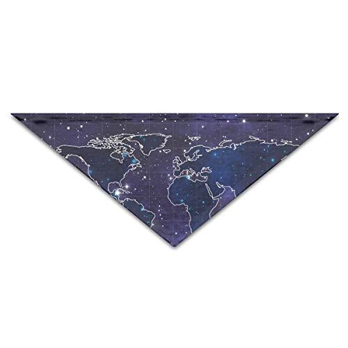 BAGT Dog Bandana Scarf Triangle Bibs World Map Galaxy Neckerchief,Cats Birthday Accessories ()