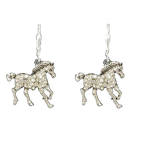 FTH GORGEOUS Galloping HORSE Earrings are Embellished in Clear Crystal Rhinestones-Perfect git for any Equestrian Enthusiast!Gift Boxed