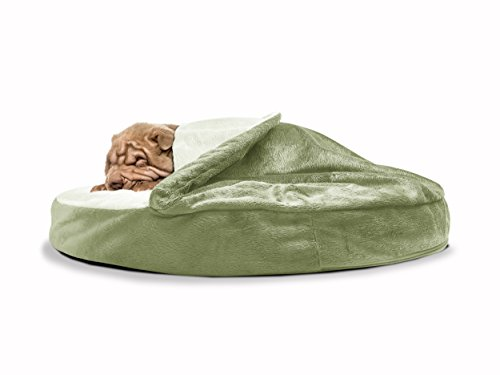 Image of FurHaven Pet Dog Bed | Orthopedic Round Microvelvet Snuggery Burrow Pet Bed for Dogs & Cats, Sage, 35-inch