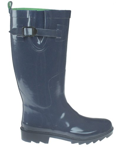 Capelli New York Shiny Solid Rubber Ladies Rain Boot With Buckle & Pull Loop Elite Navy