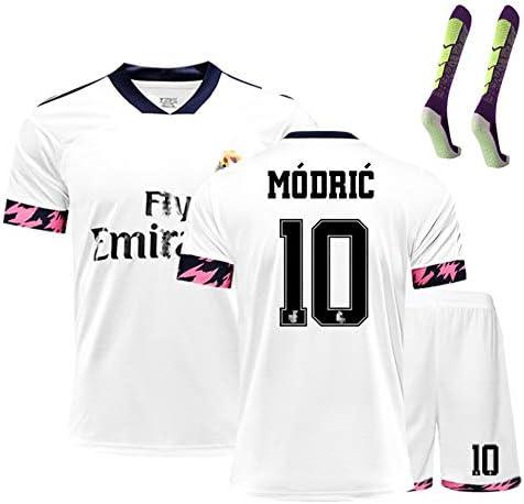 Fußballanzug Herren Madrid Gefahr 7 Modric 10 20/21 Heimtrikot Top-Wettkampfteam Uniform Training Männer und Frauen Customd 1 Paar Socke