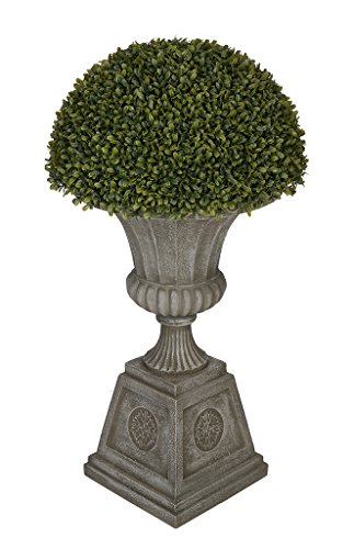Artificial Boxwood Half Ball Topiary in Urn (Grey) by House of Silk Flowers, Inc.