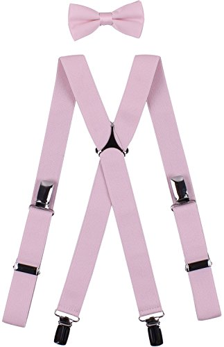 BODY STRENTH Big Boys' Bowties and Suspenders Set Striped and Elastic X Shape 30 Inches, Pink