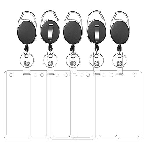 Retractable Badge Holder with Carabiner Reel Clip and Vertical ID Card Holder for ID Name Card Keychain 5 Pack