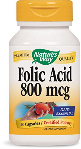 Natures Way Folic Acid 800 mcg 100 capsules. Pack of 12 bottles by Nature's Way
