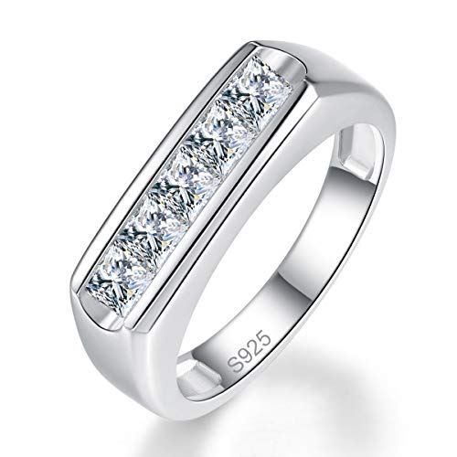 Bezel Setting Princess Cut CZ Solid 925 Sterling Silver Engagement Ring Size 6 ()