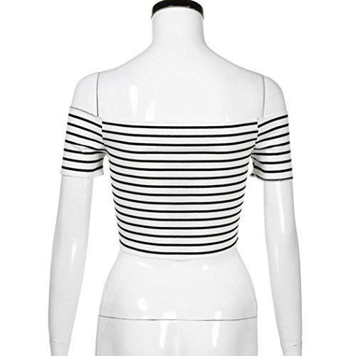 Senza Lunga Camicetta Sexy Allentato Tank Maglietta Shoulder Moda Bianco Top Shirt Spalline Elegante T Manica Casuale Donne Off A Strisce Hiroo YqvPv