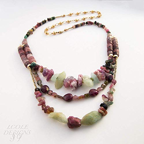 Three Gold 14k Strand (Raw Natural Tourmaline and Aquamarine Necklace with 14K Gold Filled Beads and Chain)