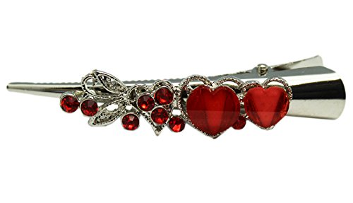 Red Synthetic Stone Heart and Pewter Metal Leaves Duckbill Fashion Hair Clip (Fashion Bill)