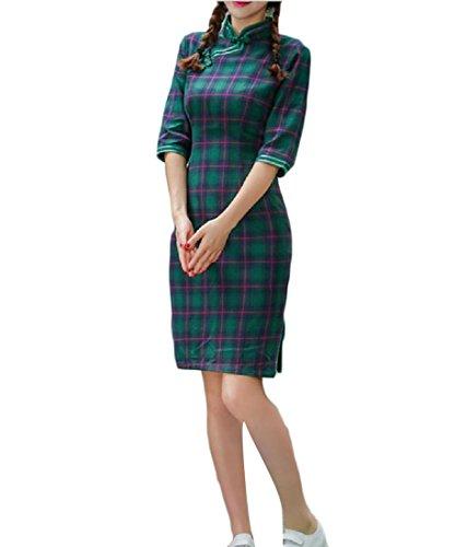 Femmes Confortables Solide Coupe Courte Mince À Carreaux Soirée Chinoise Qipao Pattern5
