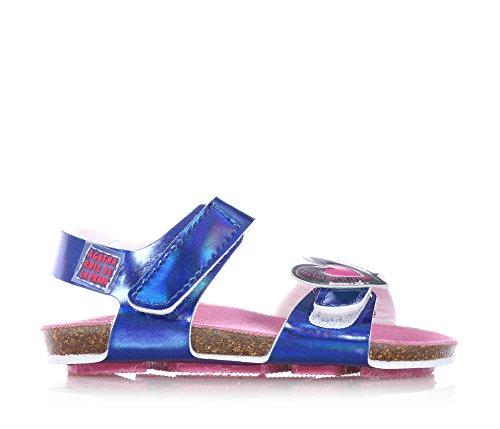 AGATHA RUIZ DE LA PRADA - Blaue Sandale aus Leder, mit Klettverschluss, Mädchen