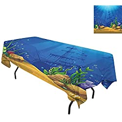 Aquarium,Waterproof Table Cover,Marine Life Landscape Sunken Ship Silhouette Corals Fishes Tropics,Tablecloths for Rectangle Tables,W60 x L84 Inch Blue Light Coffee Green