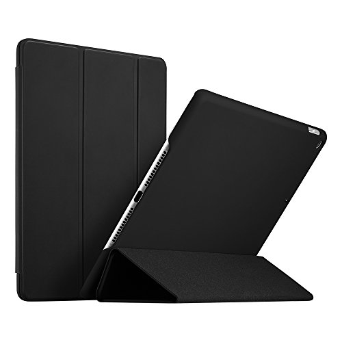 ESR iPad 9.7 2018/2017 Case, [Rubber Cover] Slim Fit Leather Smart Case with Rubberized Back Cover and Auto Wake & Sleep Function for Apple iPad 9.7 2017/2018 Released (Black)