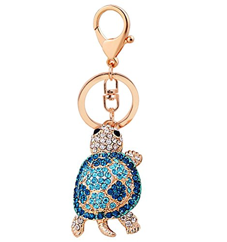 Shiny Crystal Diamond Animal Keyring Cute Cartoon Turtle Keychain Mini Bag Decoration Creative Gift for Girls and Women(Blue) -