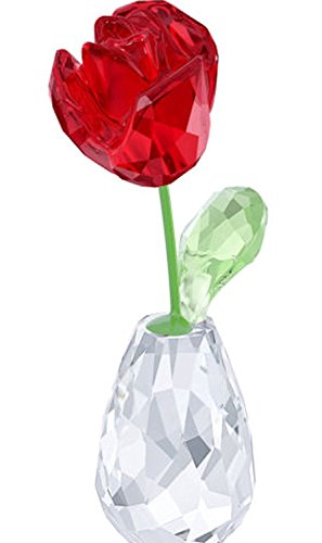 FLOWER DREAMS RED ROSE FIGURINE 5254323, 2 3/4 x 3/4 x 1 1/4 inch, Clear, Green and Red