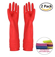 Rubber Cleaning Gloves Kitchen Dishwashing Glove 2-Pairs And Cleaning Cloth 2-Pack,Waterproof Reuseable.