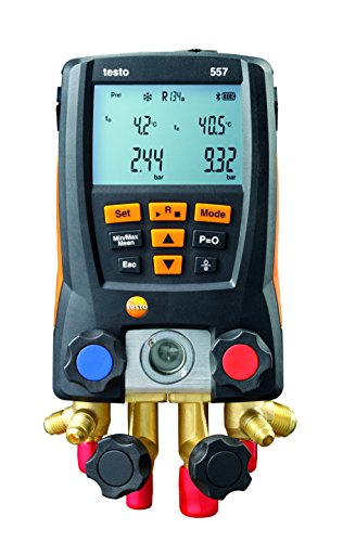 Testo 0563 1557 557 4 Way Valve Digital Manifold Meter Kit with Built in Bluetooth, 3 Height, 5 Width, 9 Length