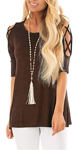 - LERUCCI Womens Casual Cold Shoulder Tops Short Sleeve Criss Cross Tunic Blouse Shirt Coffee L