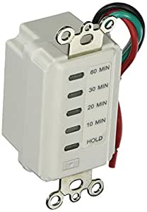 Westek TMDCD60 Hardwire Indoor Countdown 6-Setting Wall Switch Timer, White