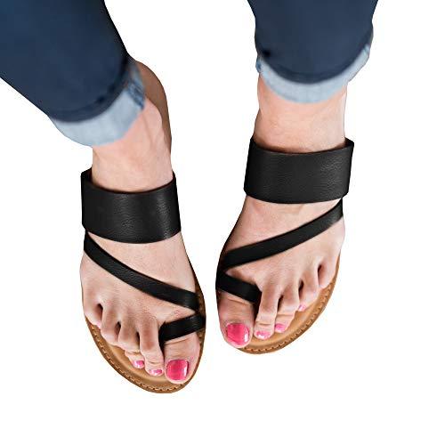 PiePieBuy Womens Thong Flat Sandals Cross Toe Flip Flops Leather Summer Beach Shoes Black