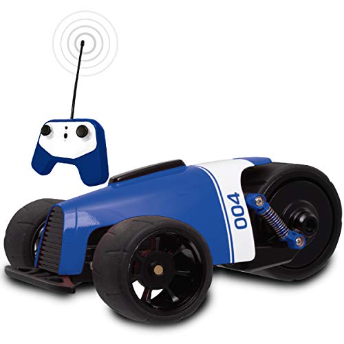 SHARPER IMAGE RC Car BLUE Phantom Racer Trike, Remote Control Car for Kids, 27 MHz Childrens Race Toy for Boys and Girls, Retro Tadpole Three-Wheeler Style, 360 Degree Spins, Multiplayer (Retro Style Pedal Car)