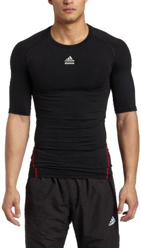adidas Men's TECHFIT Cut & Sew Short-Sleeve Top (Black, Small)