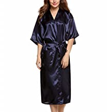 Womens Long Solid Kimono Sexy Silky Satin Bath Robe