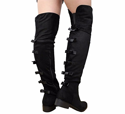 The Long Heel Boots Knee 8 Mid Thigh 3 Low SAUTE High Ladies Over Suede Black STYLES Size Block Stretch Women 6XwxXn87Iq