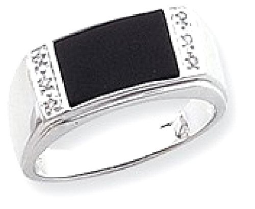 ICE CARATS 14k White Gold Black Onyx A Diamond Mens Band Ring Size 10.00 Man Fine Jewelry Dad Mens Gift Set by ICE CARATS