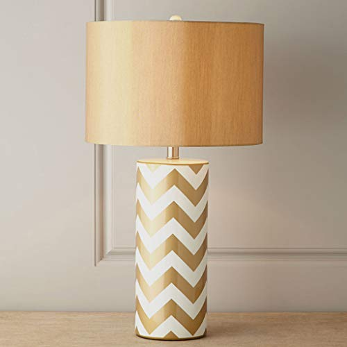 Button Type American Striped Cylindrical Ceramic Table Lamp Art Bedroom Bedside Desk Light, Creative Cylindrical Ceramic Desk Lamp with Cloth lampshade (Color : -