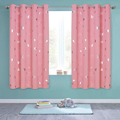 Anjee Kids Curtains for Girls Room, Foil Print Star Room Darkening Blackout Curtains Window Drapes for Bedroom, W52 x L63 inches, 2 Panels, Baby Pink (And Gold Pink Curtains)