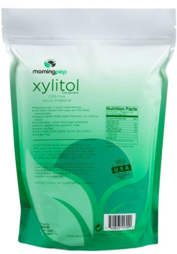Morning Pep Pure Birch Xylitol (Keto Diet Friendly) Sweetener 5 LBs (Not From Corn) NON GMO - KOSHER - GLUTEN FREE - PRODUCT OF USA. 80 Onces by Morning Pep (Image #1)