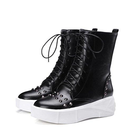 Ei&iLI Printemps des femmes / automne / hiver Bootie similicuir PU montantes lacets chaussures plate-forme Rivets moto bottes Casual Outdoor , black , 38
