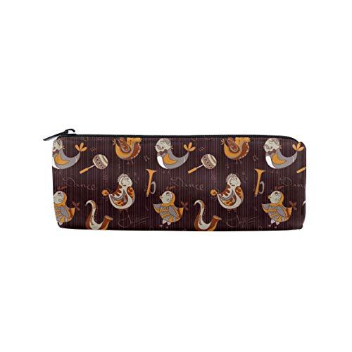 ALLDET Cartoon Jazz Orchestra Birds Cylinder Women Cosmetic Bag Zipper Single Layer Travel Storage Makeup Bags Purse