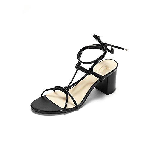 Moda Mujer verano sandalias confortables tacones altos,34 Silver Black