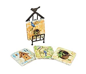 Creative Co-Op Tim Coffey Bird Nest Resin Coasters with Metal Stand