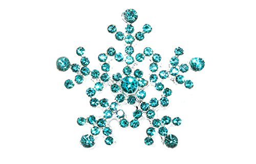 JLIKA Aqua Rhinestone Snowflake Flatback Embellishments Button (10 Pieces)