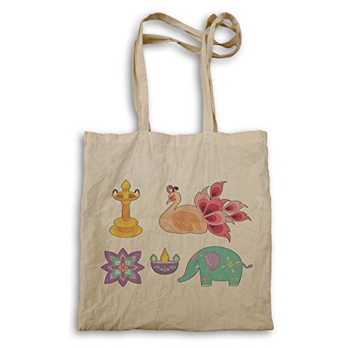 Diwali Retro Vintage Tote bag r455r by INNOGLEN