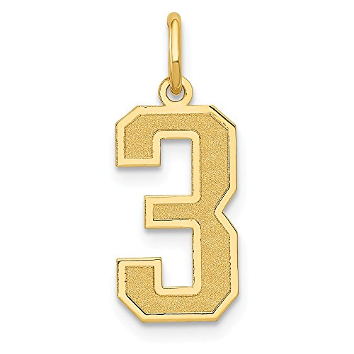 (JewelrySuperMart Collection 14k Yellow Gold Number Three Charm Pendant with Satin Finish - # 3 - Yellow Gold -)