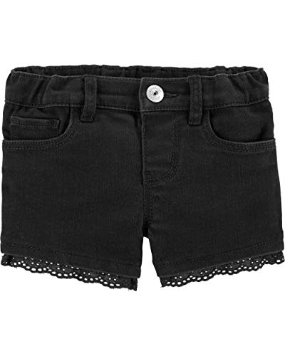 Osh Kosh Girls' Toddler Denim Shorts, Eyelet Black Wash, ()