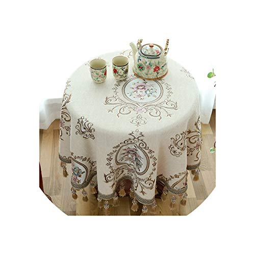 Round Table Cloth with Pendant Kitchen Accessories Living Room Coffee House Home Decoration Table Cloth,Pattern 07,9090cm